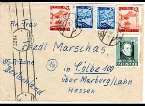 Österreich 1947, 5 Marken auf Zensur Brief v. BRUNNSEE n. Deutschland