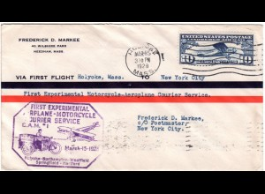 USA 1928, 1st. Experimental Motorcycle-Airmail Courier cover from Holyoke