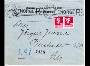 Norwegen 1924, Paar 20 öre auf Orts-Reko Brief v. Kristiania