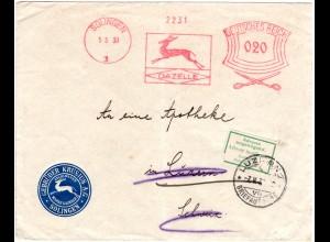 DR 1903, Solingen Maschinenfreistpl. m. Gazelle u. Schere auf Brief i.d. Schweiz