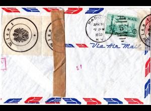 Österreich 1953, beschädigt eingangener USA Brief m. Wien Veschluss Etiketten