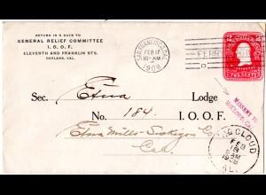 USA 1908, L2 MISSENT TO McCLOUD, CAL. auf 2 C. Ganzsache Brief v. San Francisco