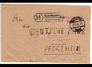 Franz Zone 1946, Landpost Stpl. EGENHAUSEN über Nagold auf Gebühr bezahlt Brief