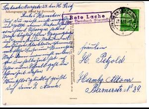 BRD 1959, Landpost Stpl. ROTE LACHE über Gernsbach auf Karte m. 10 Pf. Heuss