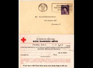 Kanada 1959, 4 C. Ganzsache m. rücks. RED CROSS Zudruck v. Toronto