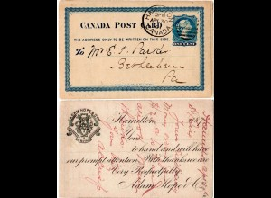 Kanada 1891, 1 C. Ganzsache v. Hamilton m. rücks. Hardware & Metal Zudruck