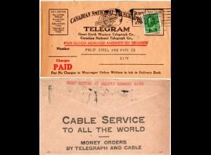 Kanada 1924, 2 C. auf Canadian National Telegraphs Telegram Umschlag v. Hamilton