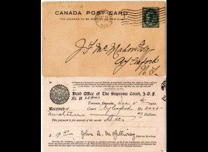 Kanada 1902, 1 C. Ganzsache m. rücks. Order Of Foresters Zudruck v. Toronto