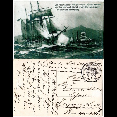 Marine Schiffspost 1915, sw-AK Hilfskreuzer Ayesha auf dem Weg n. Hodeida