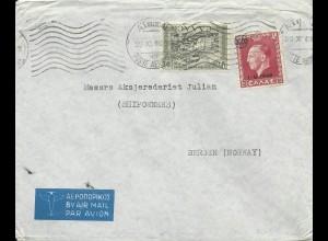 Griechenland 1949, Luftpost Brief m. 100+3000 Dr. v. Athen n. Norwegen.