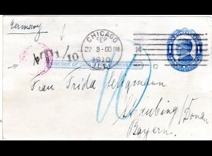 USA 1910, 1 C. Ganzsache v. Chicago n. Bayern m. Portokontrollstpl. v. Straubing