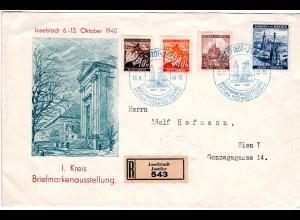 Böhmen u. Mähren 1940, 4 Marken auf Reko Sonderumschlag v. Josefstadt