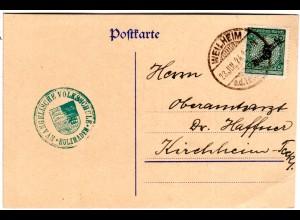 DR 1924, 5 Pf. Dienst auf Karte m. grünem Wappenstpl. Ev. Volksschule Holzmaden