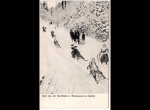 Ebenhausen im Isartal, Gruß von der Rodelbahn, 1914 gebr. sw-AK