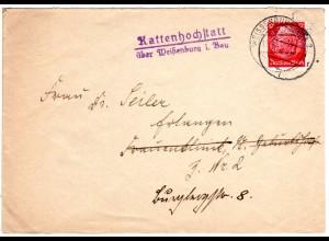 DR 1940, Landpoststempel KATTENHOCHSTATT über Weissenburg auf Brief m. 12 Pf.