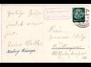 DR 1939, Landpost Stpl. HOFHERRNWEILER über Aalen auf Karte m. 6 Pf.