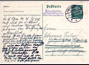 DR 1935, Landpost Stpl. ALESHEIM über Gunzenhausen auf 6 Pf. Ganzsache.