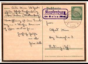 DR 1934, Landpost Stpl. KAPFENBURG über Aalen auf 6 Pf. Ganzsache.
