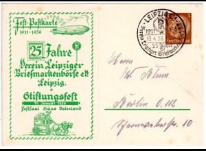 DR 1936, gebr. 3 Pf. Privat-Ganzsache Stiftungsfest Leipzig m. Abb. Zeppelin.