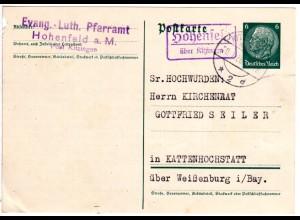DR 1936, Landpost Stpl. HOHENFELD über Kitzingen auf 6 Pf. Ganzsache.