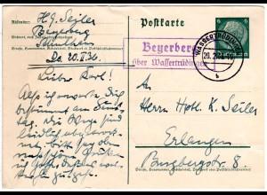 DR 1936, Landpost Stpl. BEYERBERG über Wassertrüdingen auf 6 Pf. Ganzsache.