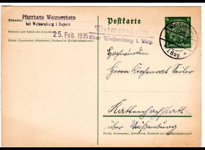 DR 1935, Landpost Stpl. WEIMERSHEIM über Weißenburg auf 6 Pf. Ganzsache.