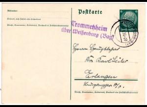 DR 1936, Landpost Stpl. TROMMETZHEIM über Weißenburg auf 6 Pf. Ganzsache.