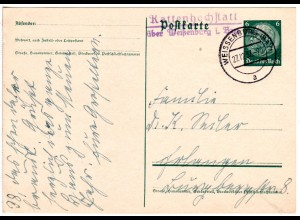 DR 1935, L2 Landpost Stpl. KATTENHOCHSTATT über Weißenburg auf 6 Pf. Ganzsache.