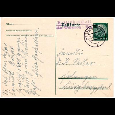 DR 1937, L2 Landpost Stpl. KATTENHOCHSTATT über Weißenburg auf 6 Pf. Ganzsache.