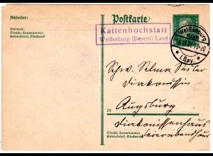 DR 1931, R2 Landpost Stpl. KATTENHOCHSTATT Weißenburg Land auf 6 Pf. Ganzsache.