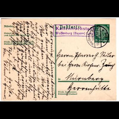 DR 1933, R2 Landpost Stpl. KATTENHOCHSTATT Weißenburg Land auf 6 Pf. Ganzsache.