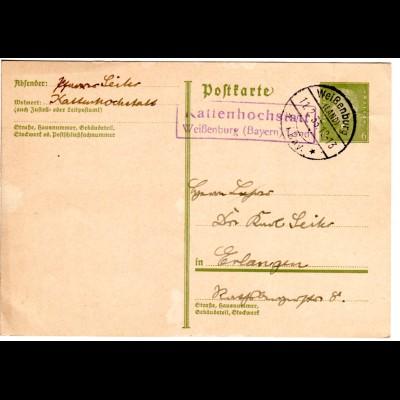 DR 1933, R2 Landpost Stpl. KATTENHOCHSTATT Weißenburg Land auf 6 Pf. Ganzsache