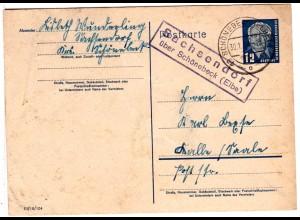 DDR 1954, Landpost Stpl. SACHSENDORF über Schönebeck auf 12 Pf. Ganzsache