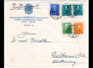 Ungarn 1937, 5 Marken auf Hotel Brief v. Eger - Erlau n. Württemberg