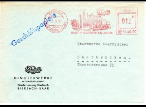 Saarland 1957, Werbefreistempel v. Bierbach m. Abb. Dingler Hochofenanlage