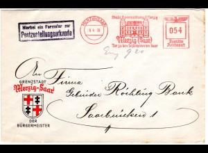 Saargebiet 1938, Merzig Werbefreistempel auf Zustellurkunde Bürgermeisterbrief