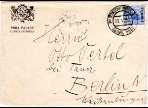 Österreich Post i.d. Levante 1906, 1 Pia. auf Hotel Brief v. Constantinopel 1