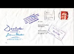 BRD 1975, durch Briefautomation beschädigter Brief m. Bielefeld Hinweis Stempel