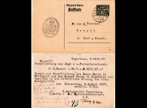 Bayern 1917, 7 1/2 Pf. Dienst Ganzsache v. Tegernsee bzgl. Jagd- u. Forstdienst