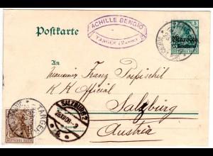 DP Marokko 1908, 5 C./5 Pf. Ganzsache m. Rauten-WZ v. Tanger n. Österreich