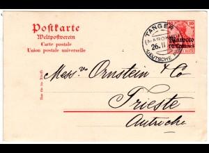 DP Marokko 1913, 10 C./10 Pf. Ganzsache m. WZ v. Tanger n. Österreich