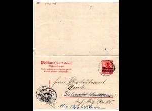 DP Marokko 1906, 10 C/10 Pf Doppelkarte gebr. v. Tanger n. Detmold u. Paderborn