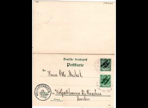 DP Marokko 1900, 5 C./5 Pf. Doppelkarte m. 5 C. Zusatzfr. v. Larasch n. Bayern