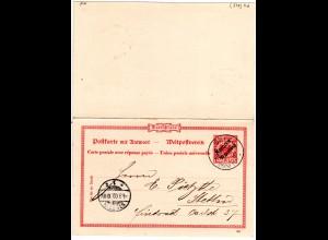 DP Marokko 1900, 10 C./ 10 Pf. Doppelkarte Ganzsache v. Saffi n. Stettin