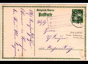 Bayern 1915, Posthilfstelle STEINHEIM Taxe Holzheim auf 5 Pf. Ganzsache