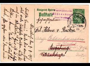 Bayern 1917, Posthilfstelle BLIENSBACH Taxe Wertingen auf 5 Pf. Ganzsache