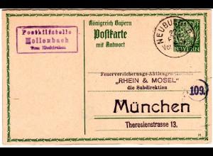 Bayern 1915, Posthilfstelle HOLLENBACH Taxe Ehekirchen auf 5 Pf. Ganzsache