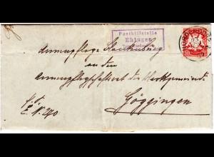 Bayern 1907, Posthilfstelle EHINGEN Taxe Nordendorf auf Brief m. 10 Pf.