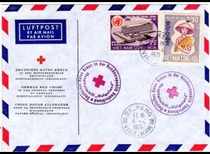 Vietnam 1971, 2 Marken auf Hospitalschiff Helgoland Rot Kreuz Brief v. Da-Nang
