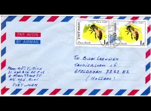 Vietnam 1983, MeF Paar 1 D. Biene auf Luftpost Brief i.d. NL